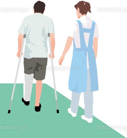 松葉杖を付いて歩く男性患者と付き添う女性の後姿のイラスト素材 [FYI01845286]
