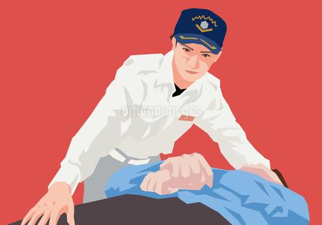 救急救命を行う男性のイラスト素材 [FYI01845776]