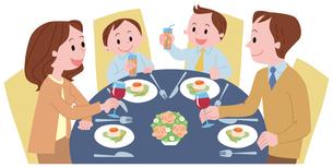 レストランで食事をする家族のイラスト素材 [FYI01846086]