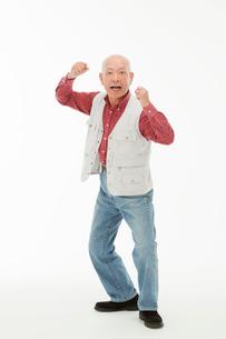 ガッツポーズをする60代男性の写真素材 [FYI01847821]