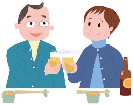 ビールで乾杯する中高年夫婦のイラスト素材 [FYI01847914]