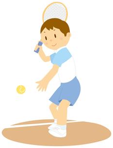 テニスをする男子中学生のイラスト素材 [FYI01848052]