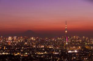 富士山と東京スカイツリーライトアップ(雅)の写真素材 [FYI01850108]