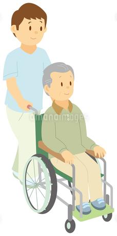 介助員に車いすを押してもらう老人男子のイラスト素材 [FYI01853357]