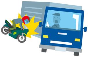 バイクとトラックの交通事故のイラスト素材 [FYI01854634]