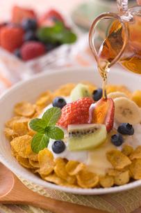 シリアルとヨーグルトの朝食の写真素材 [FYI01854794]