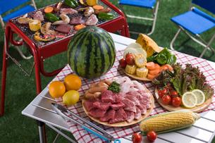バーベキューの食材とテーブルの写真素材 [FYI01855040]