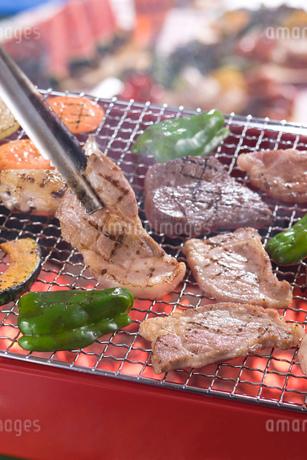 バーベキューコンロで肉を網焼きにするの写真素材 [FYI01855057]