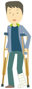 足を骨折している人のイラスト素材 [FYI01855790]