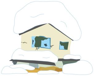 雪でつぶれる家のイラスト素材 [FYI01855828]