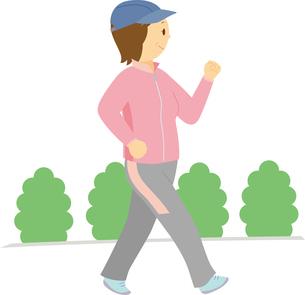 ウォーキングをする中高年女性のイラスト素材 [FYI01856311]