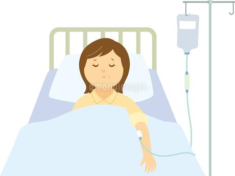 入院している中年女性のイラスト素材 [FYI01856339]