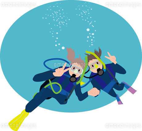 スキューバダイビング体験をする女性2人のイラスト素材 [FYI01856838]