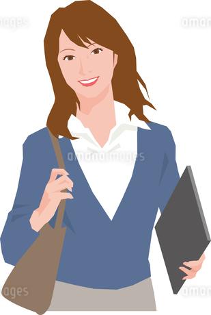 バッグとノートパソコンを持つ若い女性のイラスト素材 [FYI01857294]
