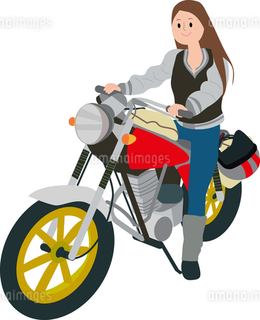 バイク女子のイラスト素材 [FYI01858011]