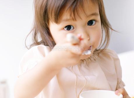ヨーグルトを食べる女の子の写真素材 [FYI01864005]