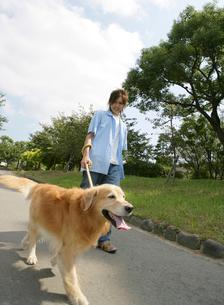 犬と散歩をする日本人男性の写真素材 [FYI01866551]
