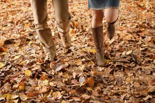 落ち葉の絨毯の上を駆けて行く男女の足元の写真素材 [FYI01871830]
