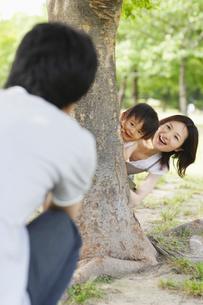 木に隠れる親子の写真素材 [FYI01875472]