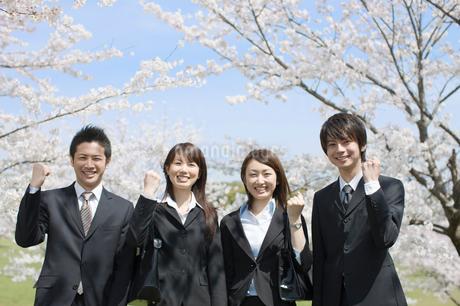 桜の木の前に立つ新入社員の写真素材 [FYI01879414]