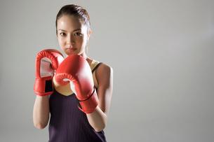 ボクシンググローブをつけて構える女性の写真素材 [FYI01881829]