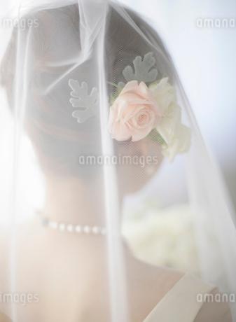 ブーケを持つウェディングドレス姿の女性の写真素材 [FYI01885160]