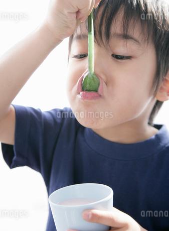 飲み物のコップを片手にスプーンをなめる少年の写真素材 [FYI01886464]