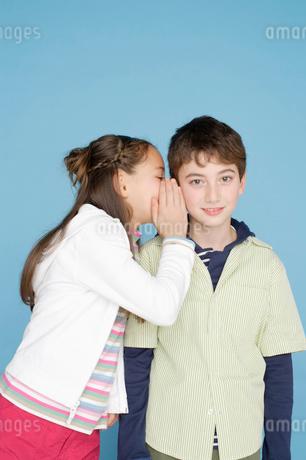 内緒話をする男の子と女の子の写真素材 [FYI01891272]