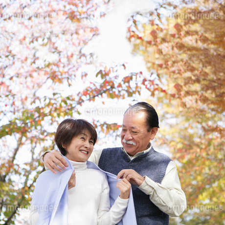 妻にストールを掛ける夫の写真素材 [FYI01892554]