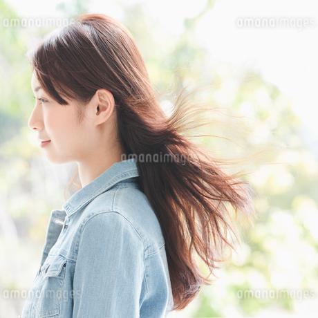 髪をなびかせる女性の横顔の写真素材 [FYI01895048]