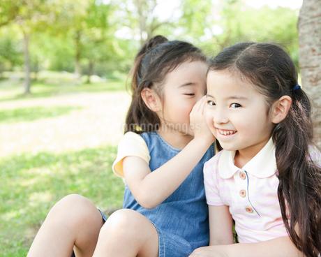 内緒話をする姉妹の写真素材 [FYI01896987]