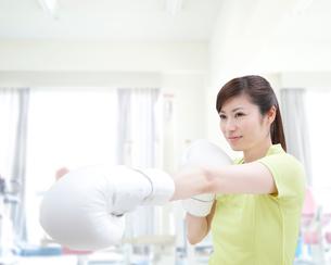 ボクシングをする女性の写真素材 [FYI01898282]