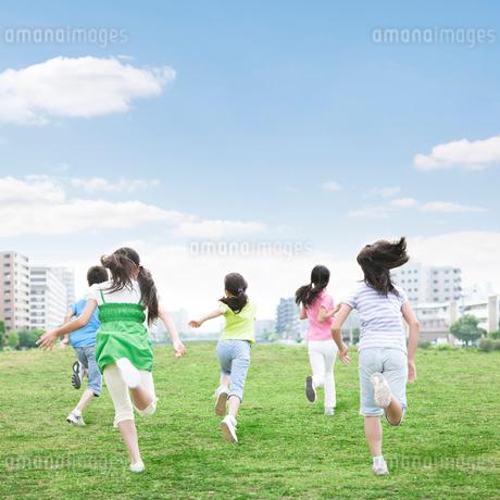 草原を走る子供達の後ろ姿の写真素材 [FYI01899611]