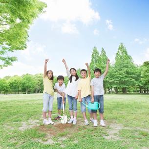 植樹をする子供たちの写真素材 [FYI01899792]