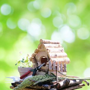 鳥小屋とガーデニング用品の写真素材 [FYI01901250]