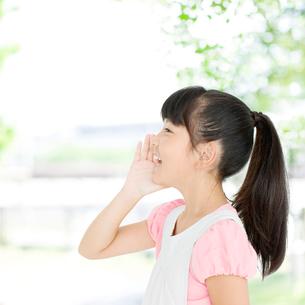 呼びかける日本人の女の子の写真素材 [FYI01904209]