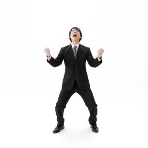 ガッツポーズをするビジネスマンの写真素材 [FYI01906117]