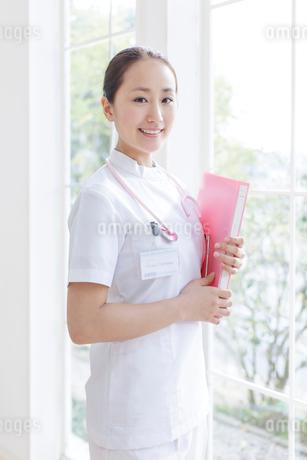 ファイルを持ち窓辺に立つ看護師の写真素材 [FYI01906997]