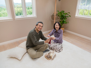 編み物をするシニア夫婦の写真素材 [FYI01911805]