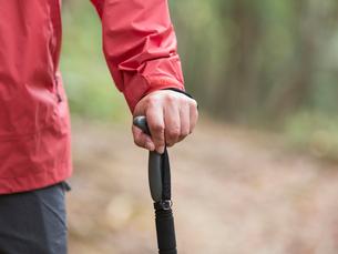 トレッキングステッキを持つ男性の手元の写真素材 [FYI01913526]