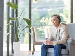 ソファに座るシニア男性の写真素材 [FYI01914402]