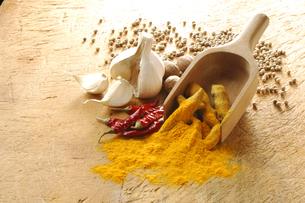 赤唐辛子とウコンと白胡椒とナツメグとニンニクの写真素材 [FYI01927245]
