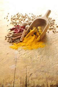 赤唐辛子とウコンと白胡椒とナツメグとシナモンの写真素材 [FYI01927398]