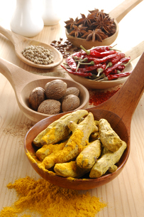 赤唐辛子と白胡椒とウコンとナツメグとニンニクの写真素材 [FYI01927616]