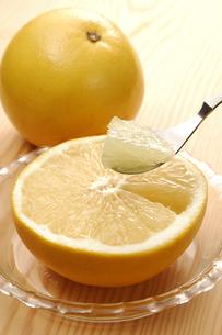 グレープフルーツをスプーンですくうの写真素材 [FYI01928461]
