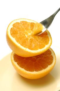 オレンジをスプーンですくうの写真素材 [FYI01929289]