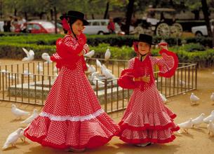 フェリアの祭でフラメンコを踊る女性の写真素材 [FYI01930280]