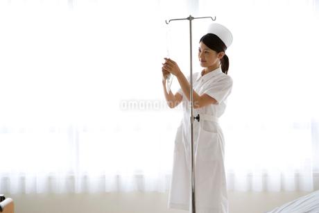 点滴の準備をする女性看護師の写真素材 [FYI01932876]