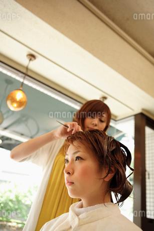 パーマ液を髪に塗布される女性の写真素材 [FYI01934790]