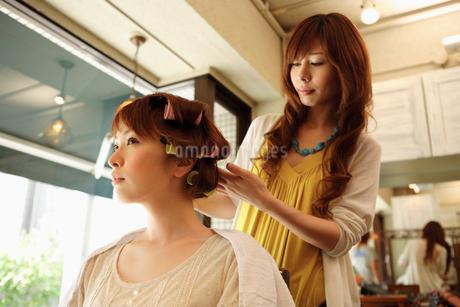 髪にロットを巻かれる女性の写真素材 [FYI01936186]